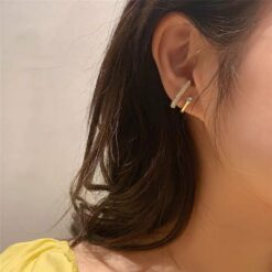 [925銀針]氣質金屬鑲鉆耳環