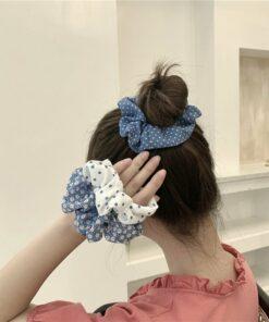 藍色系碎花波點髪圈