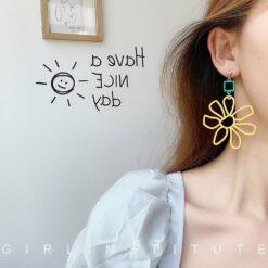 [925銀針]ins風花朵撞色耳環