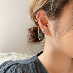[925銀針]簡約氣質鏈條蝴蝶耳環耳夾
