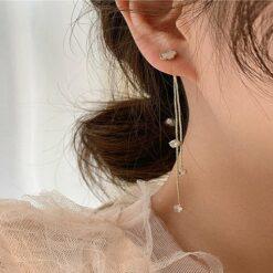 [925銀針]氣質珍珠流蘇耳環耳墜