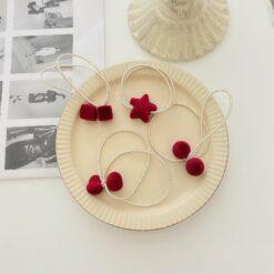 红色植绒爱心五角星磨砂方块圆球髪圈