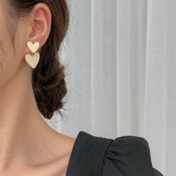 [925銀針]簡約滴釉愛心耳環