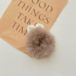 毛絨兔子耳朵彩色頭繩