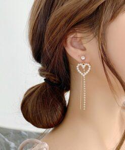 [鋼針]格紋愛心珍珠水鉆耳環耳墜