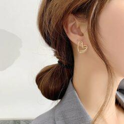 [925銀針]氣質微鑲鋯石雙層耳環