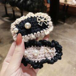 可愛針織蝴蝶結髪夾