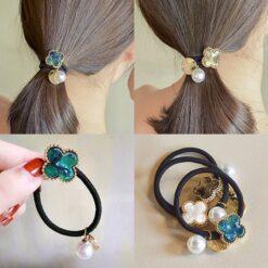 可愛花朵珍珠皮髪繩