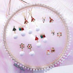 [鋼針]甜美鈴鐺麋鹿聖誕耳環