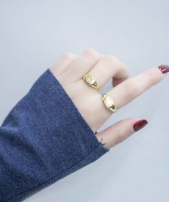 [925純銀]愛心米子黃金色戒指