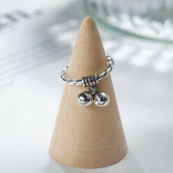 [925銀]小眾設計圓珠笑臉戒指