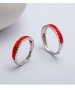 [s925純銀]紅繩情侶推拉戒指
