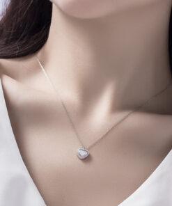 [925純銀]愛心形貝殼鑲鉆鎖骨鏈