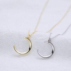 [925純銀]簡約百搭光面月亮項鏈