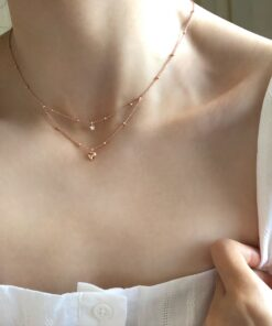 [925純銀]鑲鉆五角星愛心雙層項鏈