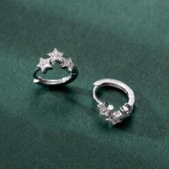 [925純銀]基礎款五角星鋯石耳扣
