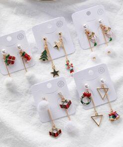 [鋼針]聖誕耳環雪花毛球麋鹿耳墜