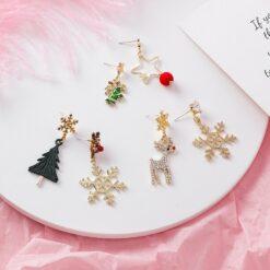 [925銀針]不對稱雪花聖誕樹麋鹿聖誕耳環