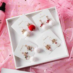 [鋼針]甜美可愛蝴蝶結雪人聖誕耳環