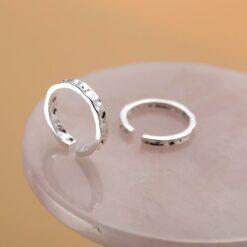 [S925純銀]錫金箔不規則凹凸面紋開口指環