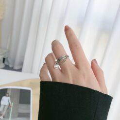 [925純銀]復古好運笑臉戒指