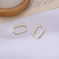 [925純銀]簡約橢圓U型耳環