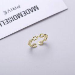 [925純銀}環環相扣開口戒指