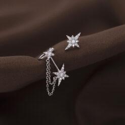 [925純銀]法式浪漫六芒星耳釘耳夾