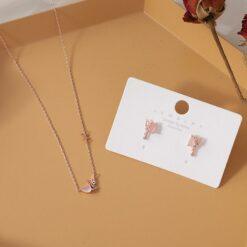 [925銀針]甜美粉玉石蝴蝶耳環戒指項鏈同款