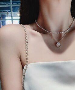 [合金]文藝甜美珍珠圓環雙層項鏈