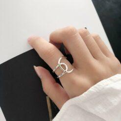 [925純銀]幾何簡約交叉戒指