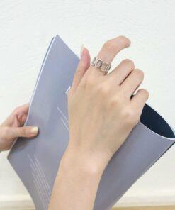 [925純銀]小眾設計幾何鏤空戒指