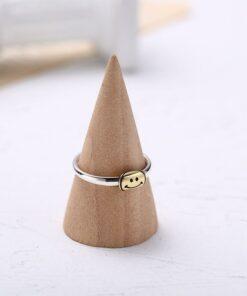 [s925]純銀]時尚開口笑臉戒指