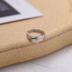[925純銀]設計師款錫紙凹凸戒指