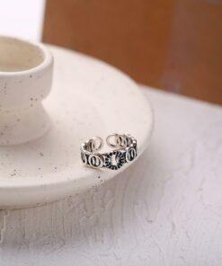 [s925純銀]圓圈黑鉆復古開口戒指指環