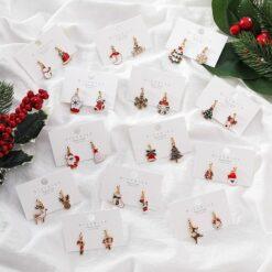 [925銀針]聖誕襪子鈴鐺麋鹿耳環