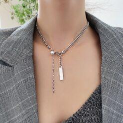 [合金]個性金屬拼接珍珠流蘇項鏈