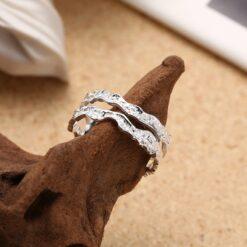[925純銀]]小眾設計山脈巖石雙層紋路戒指