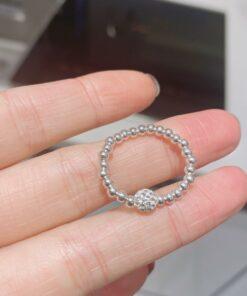 [925純銀]滿鉆球彈力繩銀珠戒指