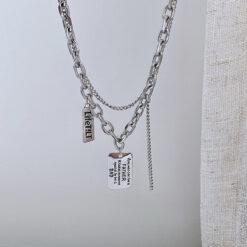 [鈦鋼]復古嘻哈風字母方牌雙層項鏈