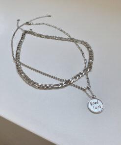 [鈦鋼]小眾設計感多層圓牌項鏈