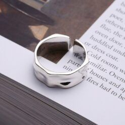 [925純銀]設計感不規則凹凸面戒指