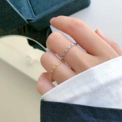 [925純銀]小巧百搭鏤空鏈條戒指