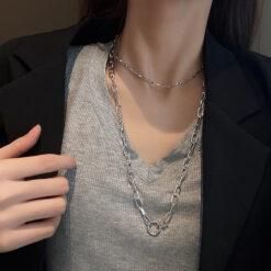 [鈦鋼]小眾設計雙層鏈條項鏈