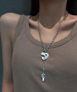[鈦鋼]簡約百搭愛心鑰匙項鏈
