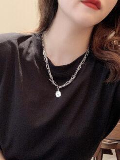 [鋼鈦]簡約金屬美人頭雙層項鏈