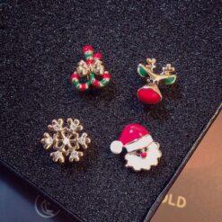 [鋼針]聖誕老人雪花迷妳4件套單耳釘