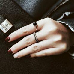925純銀黑瑪瑙開口復古泰銀麻花小戒指