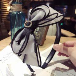 蕾絲網紗多層蝴蝶結發箍