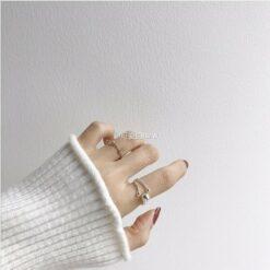 [s925純銀]簡約球形三生石開口單戒